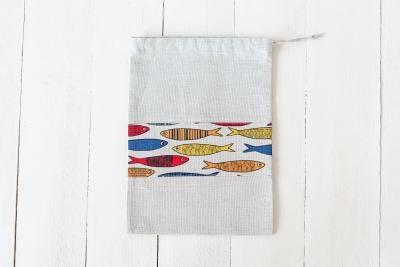 Lininis maišelis su žuvimis