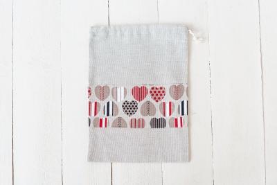 Lininis maišelis su širdelėmis